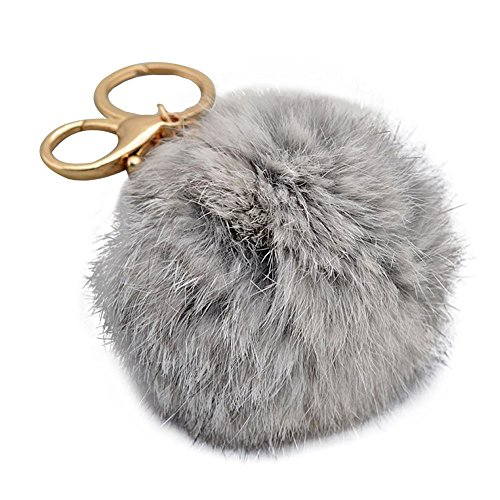 Miraclekoo Rabbit Fur Ball Pom Pom Key Chain Gold Plated Keychain with Plush for Car Key Ring or Handbag Bag Decoration (Grey)