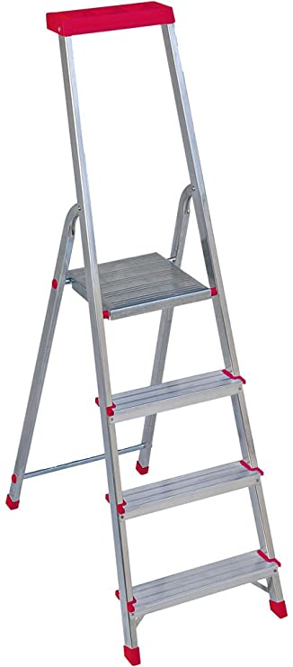 Alu-Haushaltsleiter Aluminium 4 Stufen rot mit Multifunktionsschale