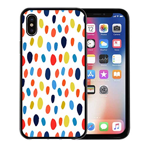 Semtomn Phone Case for Apple iPhone Xs case,Navy Blue Red Orange Chartreuse Watercolor Hand Polka Dot Ink Circles Confetti Round Abstract for iPhone X Case,Rubber Border Protective Case,Black