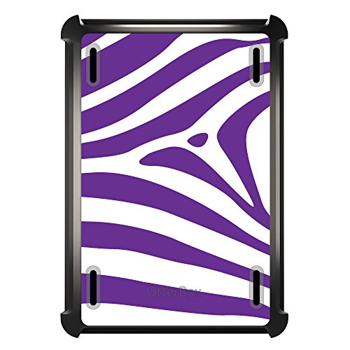 DistinctInk Case for iPad Air 2 - OtterBox Defender Custom Black Case with Cover and Screen Protector - Purple & White Zebra Skin Stripes