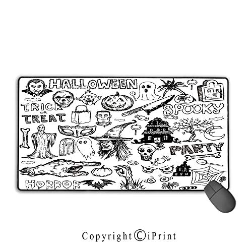 Stitched Edge Mouse pad,Vintage Halloween,Hand Drawn Halloween Doodle Trick or Treat Knife Party Severed Hand Decorative,Black White,Premium Textured Fabric, Non-Slip Rubber Base,15.8