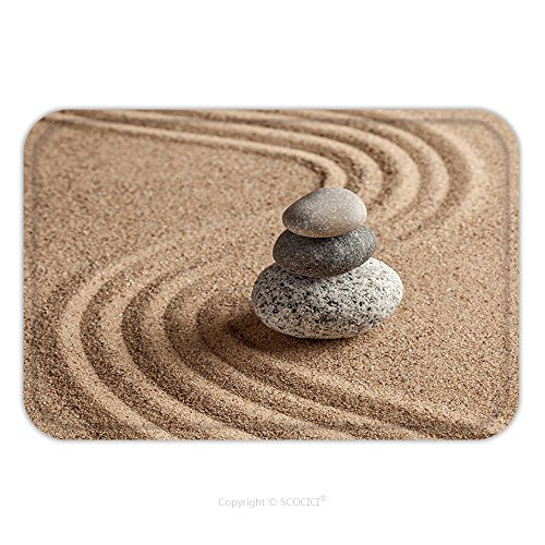 Flannel Microfiber Non-slip Rubber Backing Soft Absorbent Doormat Mat Rug Carpet Japanese Zen Stone Garden Relaxation Meditation Simplicity And Balance Concept Pebbles And 245438209 for Indoor/Outdoor