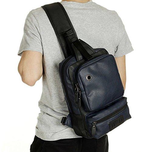 Soft PU Leather Travel bag Laptop Backpack School Rucksack(Blue) - 4