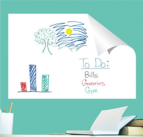 (Everase Re-Stic Dry Erase Self-Adhesive Peel & Stick Sheet, (24 x 36 in.) Free Marker & Cloth | Premium Quality Removable Whiteboard Decal/Sticker | Walls, Doors, Desks,)