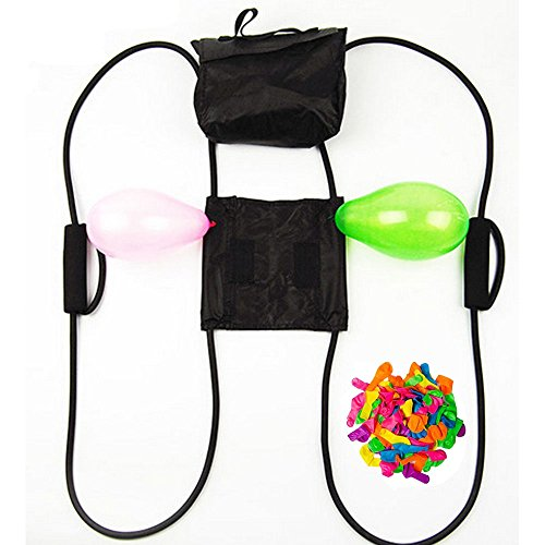 AXAYINC Water Balloon Launcher 3 Person 300 Yards Slingshot / Cannon with 100 Water Balloons for Kids Adults Outdoor Game Pool Party Toy by AXAYINC