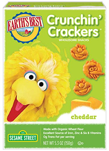 Earth's Best Crunchin' Crackers, Toddler Snacks, Cheddar Cheese, Sesame Street Characters, 5.3 Oz (Pack of 6) (Cheese Best Biscuits)