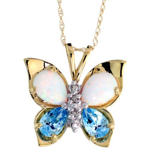10k Gold 18 in. Thin Chain & 11/16 in. (18mm) tall Butterfly Pendant, w/ Brilliant Cut Diamonds, Pear Cut Blue Topaz Stones & Pear Cut Created Opal -