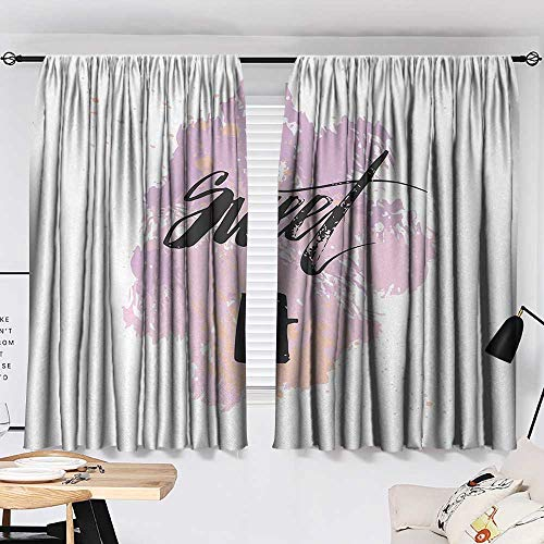 Jinguizi 17th Birthday Curtain Panels Abstract and Grunge Style Backdrop with Sweet Seventeen Themed Image top Darkening Curtains Lilac and Black W55 x L39 by Jinguizi (Image #1)