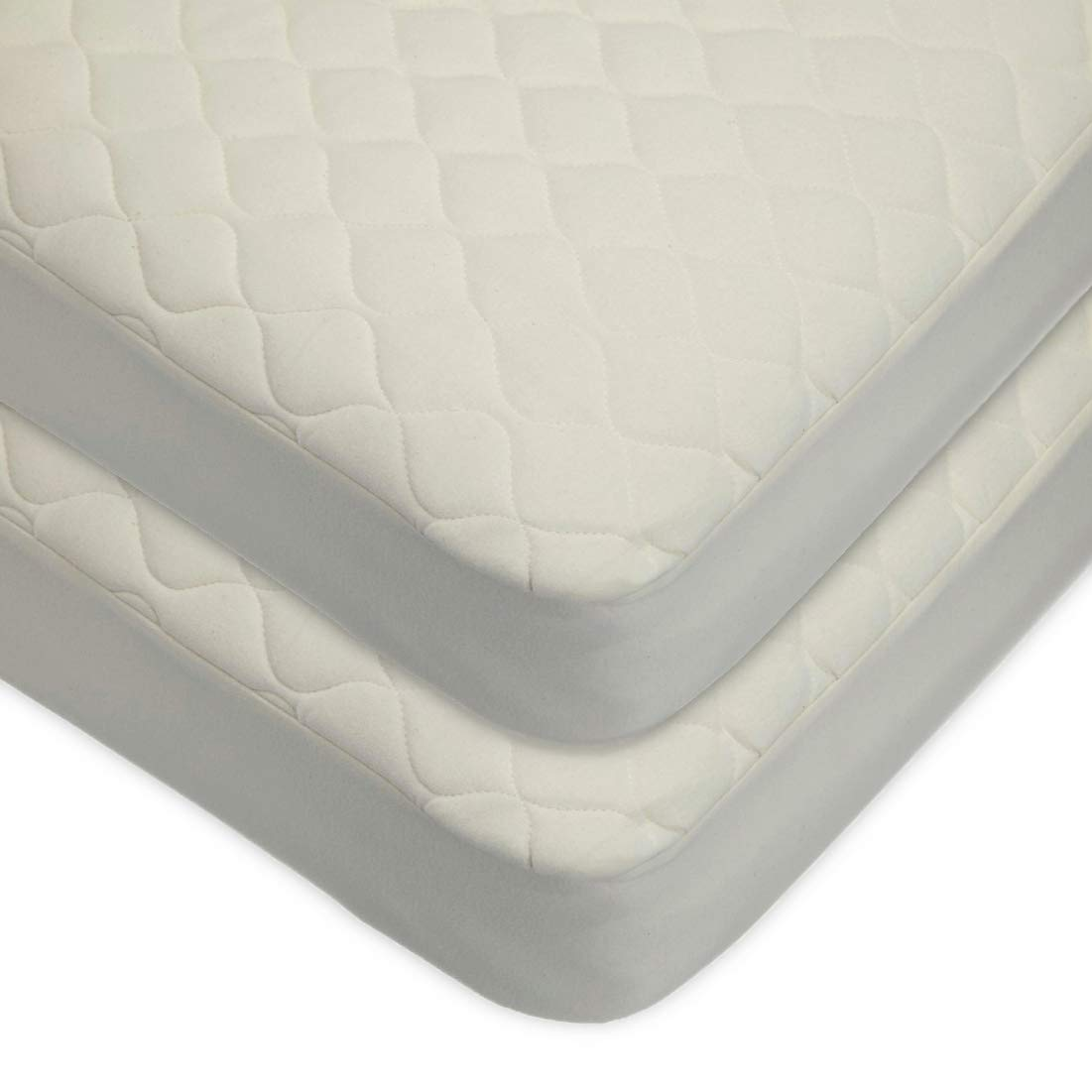 TL Care Twin Pack Waterproof Quilted Crib Size Fitted Mattress Cover Made with Organic Cotton, Natural Color by TL Care