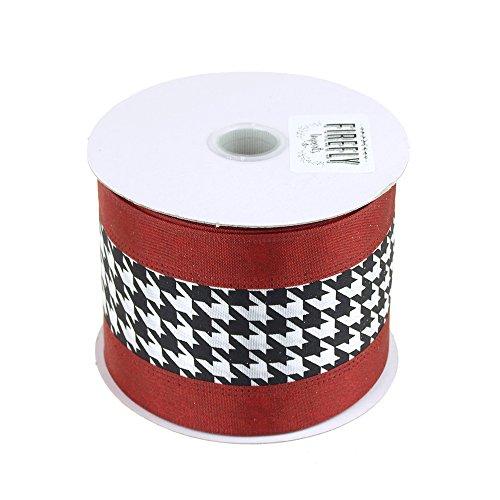 Homeford FJT00000U3021301 Crimson Polyester Christmas Ribbon Wired Edge, 2-1/2