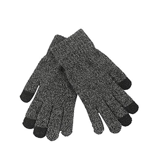 Crytech Women Men Knitted Winter Warm Phone Screen Touch Full Finger Mittens Thermal Thick Knitting Hand Warmer Screentouch Gloves for Texting Typing in Cold Weather (Dark Gray)