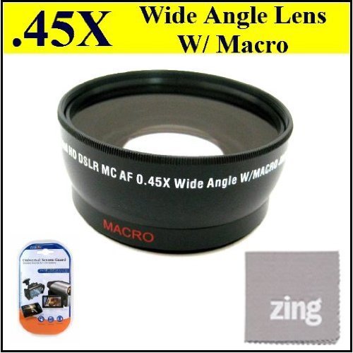 34mm 0.45x Wide Angle Lens with Macro for Canon VIXIA HFR20 HFR21 HFR200 Camcorder + Microfiber Cleaning Cloth + LCD Screen Protectors by Big Mike's