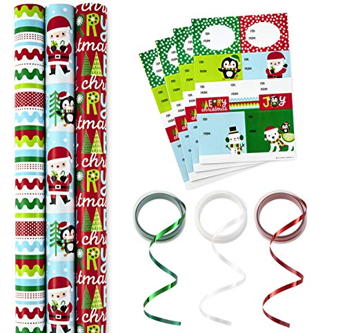 (Hallmark Reversible Christmas Wrapping Paper Set with Ribbon and Gift Tag Stickers (Fun Holiday Icons, 3 Rolls of Wrapping Paper and Ribbon) )
