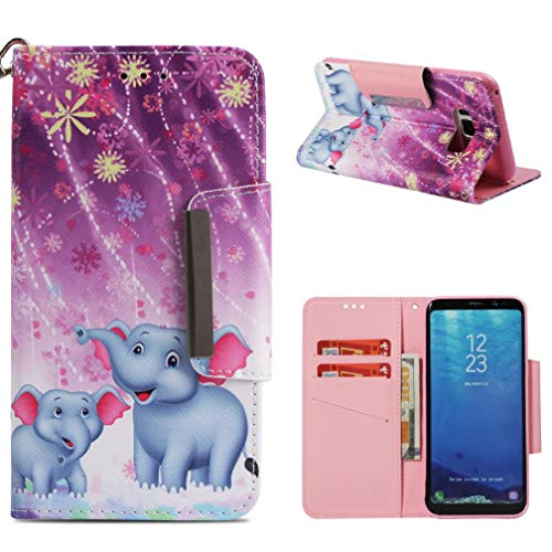 Galaxy S8 Plus Case,3D Printing Folio Flip PU Leather Wallet Full Dust Proof Anti-Scratch Inner Soft Bumper Wrist Strap Kickstand Case for Girls for Samsung Galaxy S8 Plus -Two Elephants