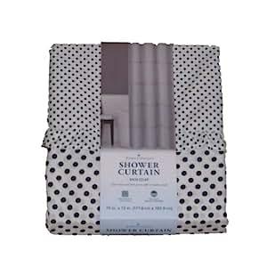 Home Classics Black White Polka Dot Fabric Shower Curtain Dots And Ruffle Bath