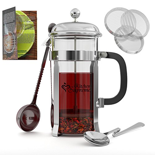 French Press Coffee & Tea Maker Complete Bundle 34 Oz Best Coffee Press Pot with Stainless ...