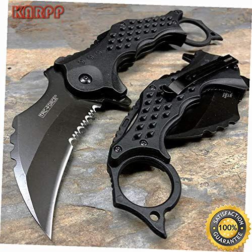 Spring Open Knife 3'' Black Karambit Blade ABS handle Speedster Knife - Outdoor Camping perfect For Hunting EDC EMT]()