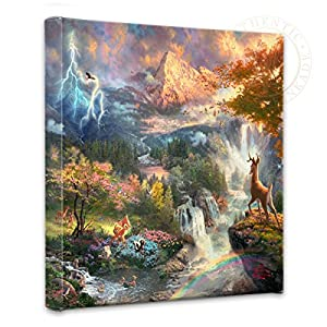 Thomas Kinkade – Gallery Wrapped Canvas , Bambi's First Year , 14″ x 14″ , 54293
