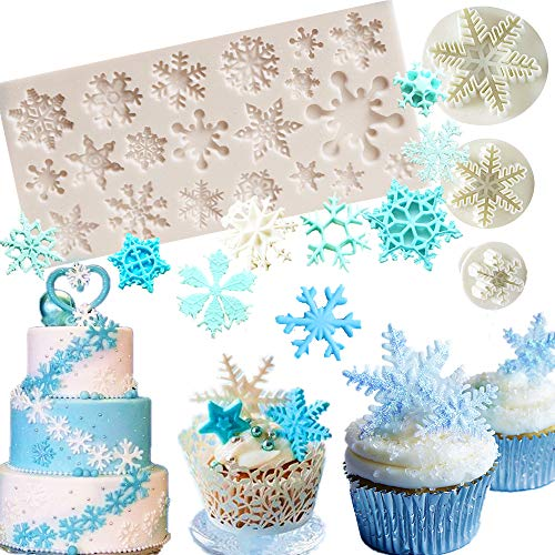 (Set of 4 JeVenis Snowflake Fondant Mold 3D Christmas Cake Decorations Winter Cupcake Topper for Chocolate Candy Soap Cake Baking Decoration (White1))