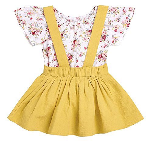 LOliSWan 2Pcs Infant Toddler Baby Girls Summer Boho Floral Rompers Jumpsuit Strap Skirt Overall Dress Outfits Set (Yellow, 12-18 Months)