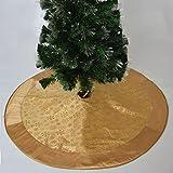 Gireshome 36'' gold flocking snowflake Tree Skirt Christmas Tree Skirts gold satin XMAS Tree Decoration Merry Christmas Supplies Christmas Decoration