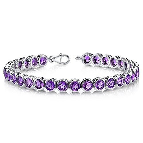 (16 Carats Amethyst Tennis Bracelet Sterling Silver Rhodium Nickel Finish Bezel Set)