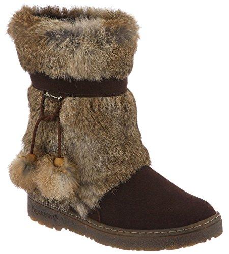 BEARPAW Boots Womens Tama Fur Pom Poms Suede 9'' 9 Chocolate 1292W by BEARPAW
