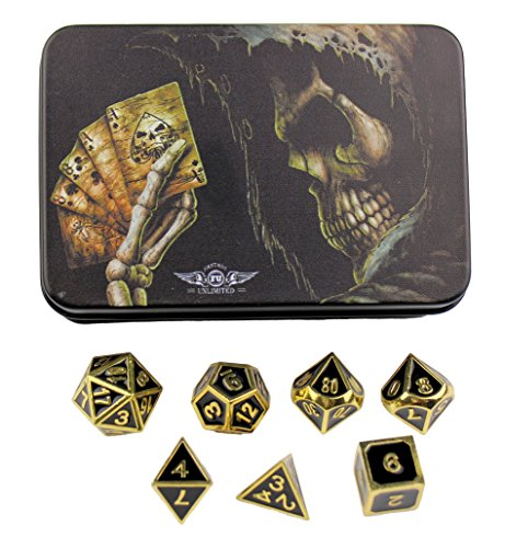 (Gold with Black Enamel Solid Metal Polyhedral Dice - for Dungeons and Dragons, Pathfinder and other RPGs)