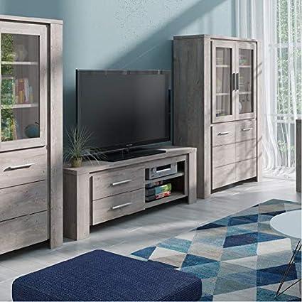 Meuble TV Adita ch/êne gris/é 2 tiroirs 2 niches