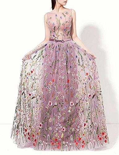 Dmdrs Dreamdress Tulle Floral Broderie Femmes Étage Longueur Des Robes De Soirée Rose