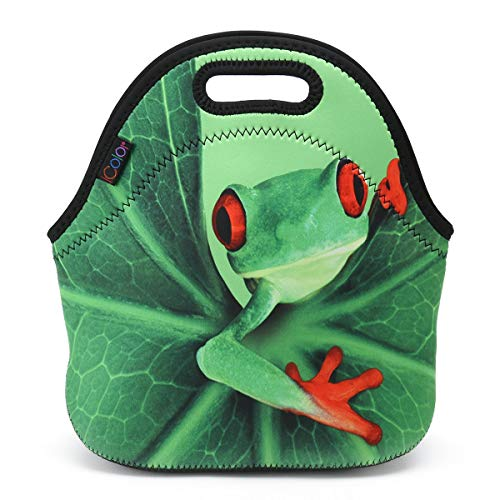 ICOLOR Cute Frog Neoprene Lunch Bag, Kids Thermal Lunch Tote Bag, Lunch Box & Food Container, Insulated Soft Lunchbox, Food Storage Cooler - Great Gift for Boys,Girls (HST-LB-032)