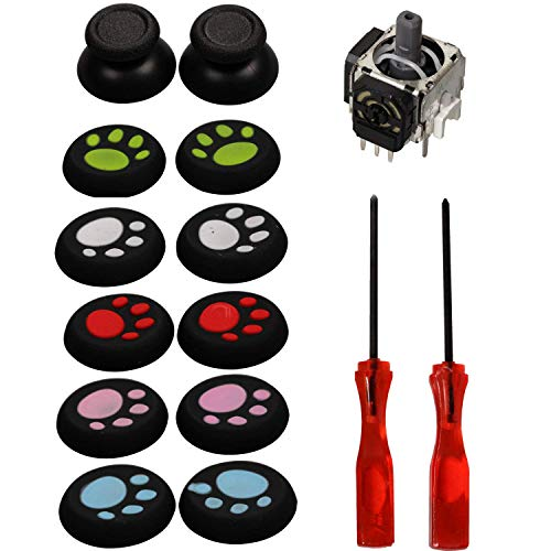 nalog Sensor + Tri-Wing & Philips 2.5mm Screwdriver + Thumbstick Analog Stick + Thumb Stick Silicone Grip Covers Replacement Parts for Sony Playstation 4 PS4 Controller(One Set) ()