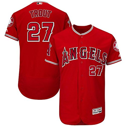 Majestic Athletic Mens Mike Trout Los Angeles Angels Baseball Player Jersey   Red L