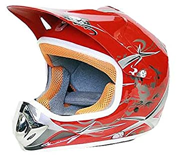 Casco Moto Cross Infantil para Niños S 51-52cm, Rojo