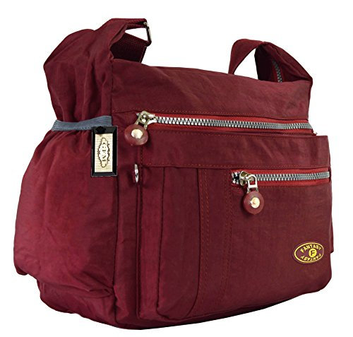 Use Body Cross Rain Bag for Shower Everyday or Red Brgll Holidays Nylon GFM resistant 1 Casual Style Burgundy gxIwX7Eq