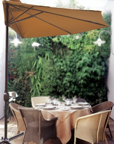 STRONG CAMEL 10' Patio Half Umbrella Wall Balcony Sun Shade Garden Outdoor Paraso-TAN
