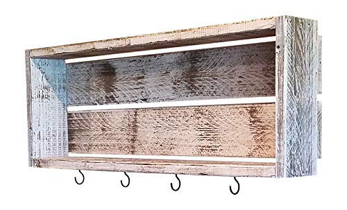 myVintageFinds Rustic Coffee Bar Cup Shelf - Wall Mounted Coffee Mug Hanger with Hooks - Farmhouse Kitchen and Coffee Bar Decor.