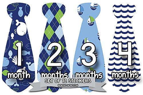 - Monthly Baby Stickers Necktie Tie Baby Boy Months 1-12 Milestone (Style 754)