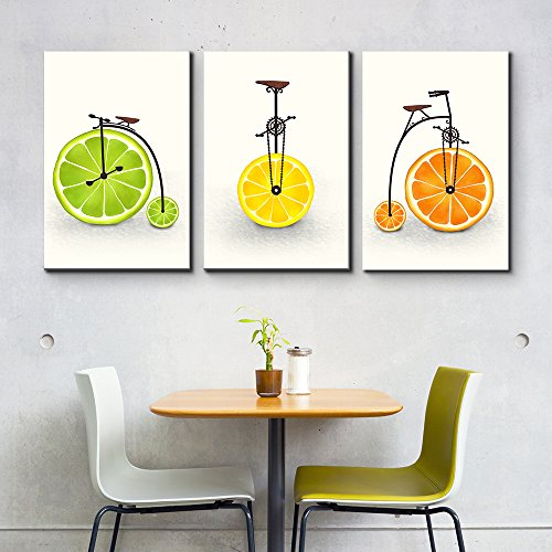 3 Panel Citrus as Wheels Triptych Series Citrus Illustration x 3 Panels