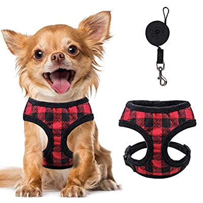PAWCHIE Self Heating Small Dog Harness and Leash Set Plaid Warm Plush Puppy Harness for Small Dogs, Cats, Puppies