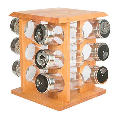 Revolving Carousel Spice Rack Set of 12 | Organic Wood, Gourmet Style, Storage | Herb Dispanser with 12 Clear Glass Jars | Kitchen Countertop Organizer (Set of 12)