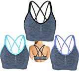 AKAMC Women's Removable Padded Sports Bras Medium Support Workout Yoga Bra 3 Pack
