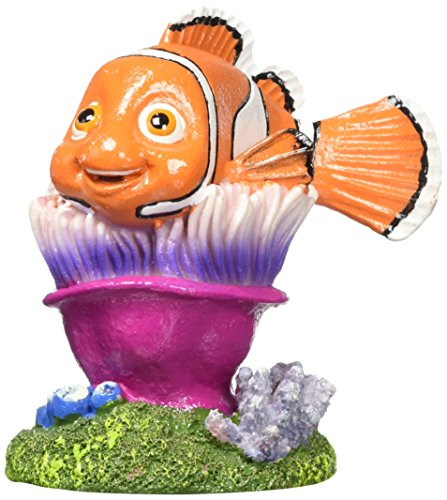 Penn Plax Finding Nemo Resin Ornament for Aquariums, Nemo on Anemone, 4-Inch ()