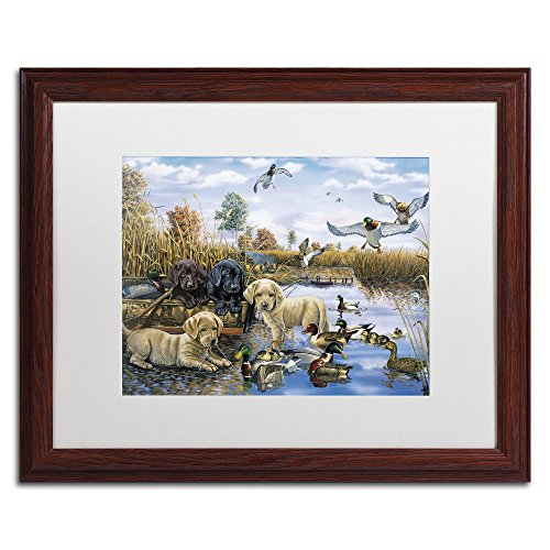 Trademark Fine Art A Playful Tail Waggin' Day by Jenny Newland, White Matte, Wood Frame 16x20-Inch