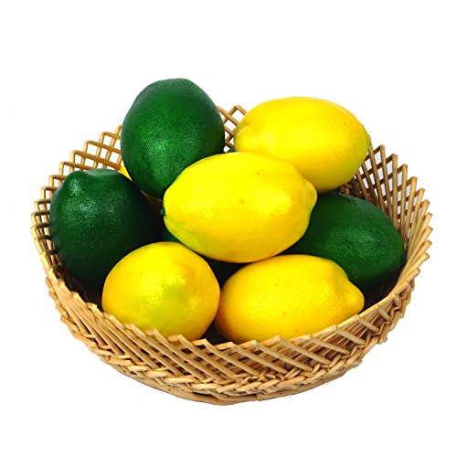 VGIA 10pcs Artificial Fruit Fake Lemons Yellow & Green Home Party Decoration Simulation Lifelike Display Fruits