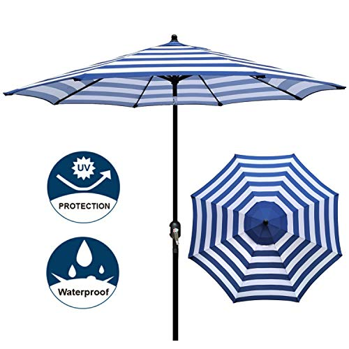 Blissun 9′ Outdoor Aluminum Patio Umbrella, Market Striped Umbrella with Push Button Tilt and Crank (Blue & White Stripe)