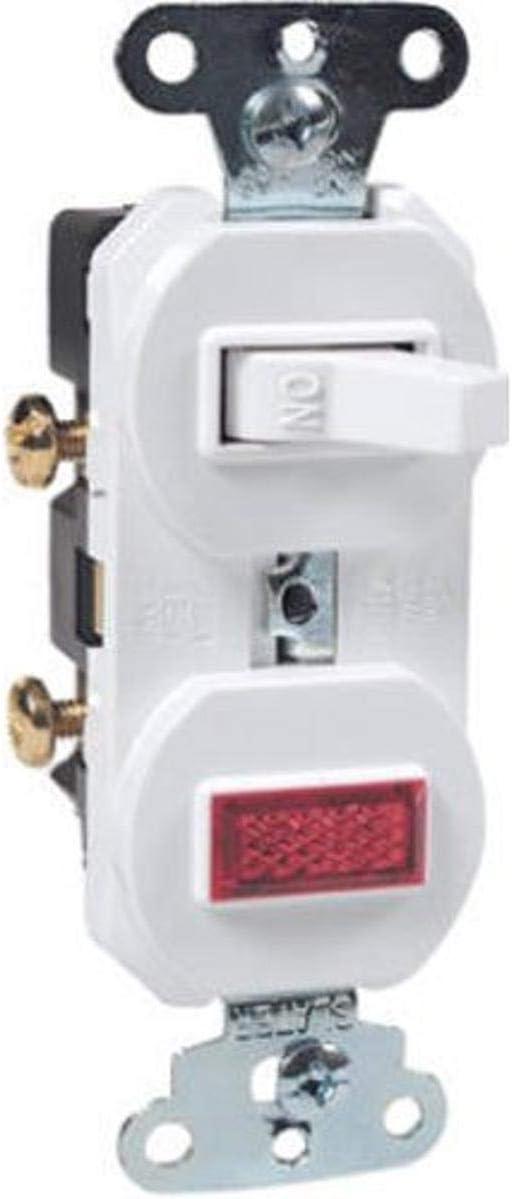 Legrand - Pass & Seymour 692WGCC6 Combination Grounding Single Pole 15-Amp 120-volt Switch and Pilot Light, White - Wall Light Switches -