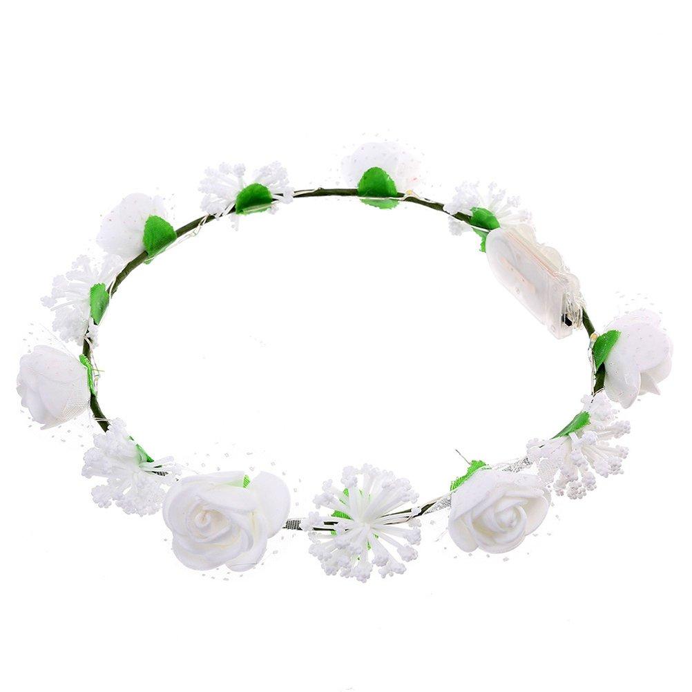 LED Blumen Kranz Haarband Haarkranz Stirnband Haarschmuck Party Hochzeit  Blüten