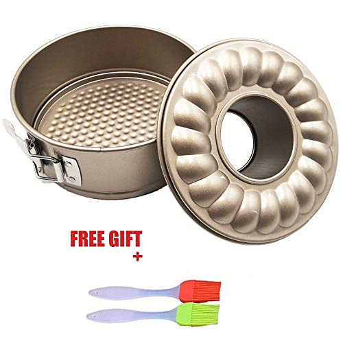 7 inch Springform Cake Pan Cheesecake Bakeware Bundt Pans Non stick Baking for Pressure cooker 5 6 8 Qt with Leakproof 2 Removable Bottom and Silicone Brush