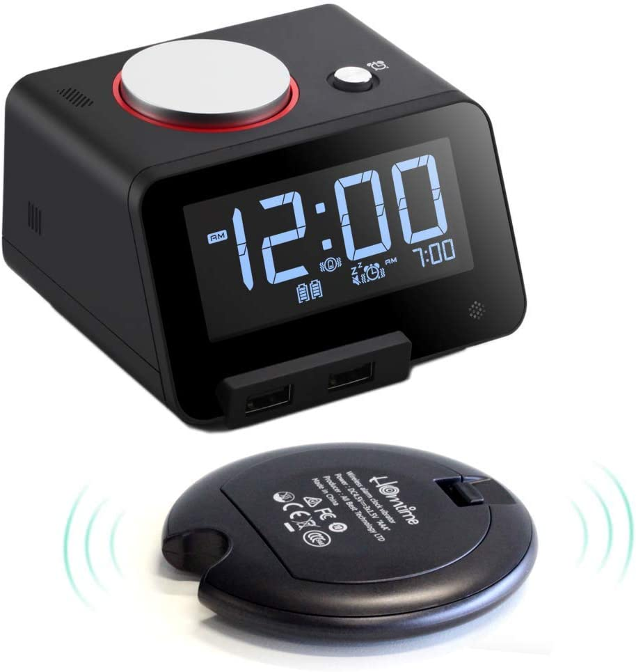Homtime Alarm Clocks with Wireless Bed Shaker: 3 Level Intense Vibrating Shaker for Heavy Sleepers/Deaf/Hearing Disorder - Digital Alarm Clocks with Speaker for iPhone & Dual Charging Ports (Black)